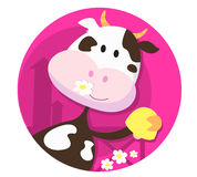 Happy cow character with bell - farm animal. Vector Illustration of happy cartoon farm animal with yellow bell. Funny cow character isolated on pink Royalty Free Stock Photos