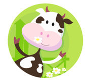 Happy cow character  - farm animal Royalty Free Stock Photography