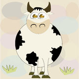 Happy cow with grass Royalty Free Stock Photo