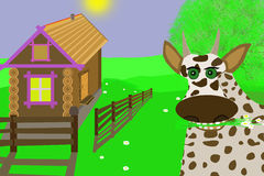 Happy cow.Illustration. In a clean village cow eating grass Royalty Free Stock Image