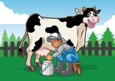 Happy cow illustration while the farmer milking. Vector of Happy cow illustration while the farmer milking vector illustration