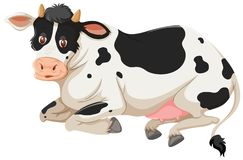 Happy cow laying down. Illustration vector illustration