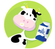 Happy cow with milk box on green background. Vector illustration of happy cartoon cow with milk royalty free illustration