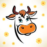 Happy cow portrait. Outlined symbol stock illustration