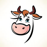 Happy cow portrait. Outlined symbol royalty free illustration