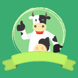 Happy cow and ribbon Royalty Free Stock Photography