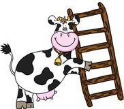 Happy cow with wooden ladder Stock Image