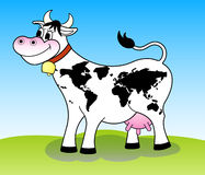 Happy cow (world map). Happy white cow with world map pattern stock illustration