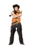 Happy cowboy with a bottle and gun Royalty Free Stock Images