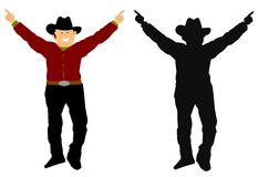 Happy cowboy. In 2 styles with arms out stretched Royalty Free Stock Image