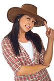 Happy cowgirl with brown hat Royalty Free Stock Photo