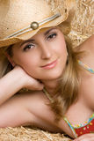 Happy Cowgirl Smiling Stock Photo