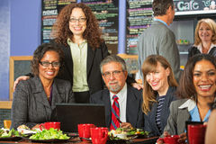 Happy Coworkers at Lunch Stock Photo