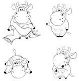 Happy cows.Clip-Art. Cartoon. Coloring book. Set of happy various cows stock illustration