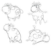 Happy cows.Clip-Art. Cartoon. Coloring book Stock Photo