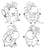Happy cows. Clip-Art. Cartoon. Coloring book. Set of various cows for painting vector illustration
