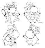 Happy cows. Clip-Art. Cartoon. Coloring book Stock Photos