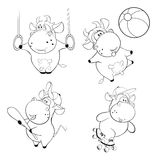 Happy cows. Clip-Art. Cartoon. Coloring book Stock Images