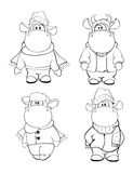 Happy cows.Clip-Art. Cartoon. Coloring book Stock Images