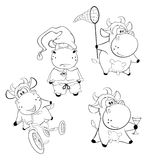 Happy cows.Clip-Art. Cartoon. Coloring book. Set of various cows for painting royalty free illustration