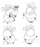 Happy cows.Clip-Art. Cartoon. Coloring book Royalty Free Stock Image