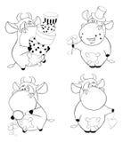 Happy cows.Clip-Art. Cartoon. Coloring book Royalty Free Stock Image