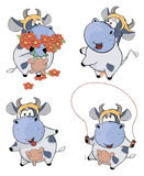 Happy cows.Clip-Art. Cartoon. The complete set of various cheerful cows royalty free illustration