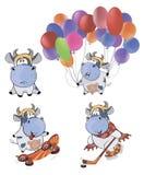 Happy cows.Clip-Art. Cartoon. Set of cheerful small various cows vector illustration