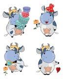 Happy cows.Clip-Art. Cartoon. Set of small various cows stock illustration