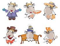 Happy cows.Clip-Art. Cartoon. Set of various cheerful cows vector illustration