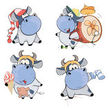 Happy cows.Clip-Art. Cartoon Stock Image