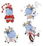 Happy cows.Clip-Art. Cartoon Royalty Free Stock Photos