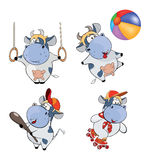 Happy cows.Clip-Art. Cartoon. Set of various cows of sportswomen Stock Images