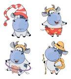 Happy cows.Clip-Art. Cartoon Royalty Free Stock Photo