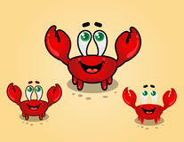 Happy Crab Cartoon Character. A happy cartoon crab characters in sandy beach, with their claws up Stock Photo