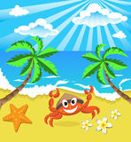 Happy crab in hat with star and flowers, on the southern island Royalty Free Stock Photos