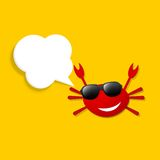 Happy crab with speech bubble Royalty Free Stock Image