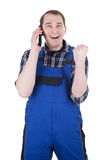 Happy craftsman on phone Royalty Free Stock Images