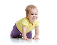 Happy crawling baby isolated on white Royalty Free Stock Images