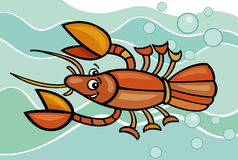 Happy crayfish cartoon illustration Royalty Free Stock Photos