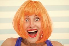 Happy crazy girl with omg or wow facial expression. happy girl with crazy look. wow. surprised happy girl with orange. Hair. crazy look of girl saying omg. what stock photos
