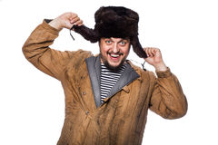 Happy crazy russian man laughing Royalty Free Stock Images