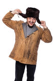 Happy crazy russian man laughing. Studio portrait isolated on white background Stock Photos