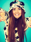 Happy crazy woman in cow costume Royalty Free Stock Photo