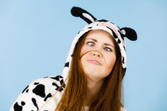 Happy crazy woman in cow costume Royalty Free Stock Images