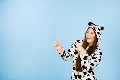 Happy crazy woman in cow costume Royalty Free Stock Photography