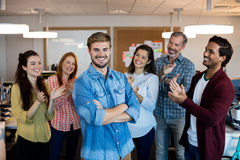 Happy creative business team celebrating success Stock Photography