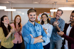Happy creative business team celebrating success Royalty Free Stock Photography