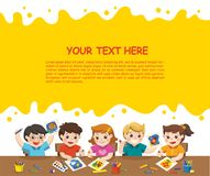 Happy creative kids painting in art class. Back to school. Happy creative kids playing, painting,sketching in art class. Education and Enjoyment Concept royalty free illustration