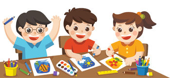 Happy creative kids playing, painting,sketching. vector illustration